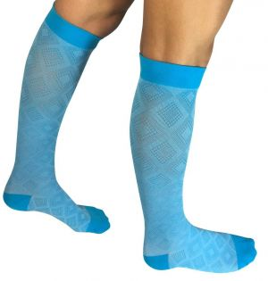JINNI Knee High Compression Socks - Blue Diamond